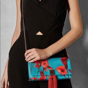 NWT ted baker fantasia jacquard clutch with chain
